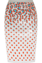 Sequined printed jersey pencil skirt