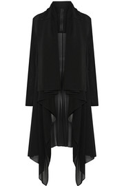 Draped stretch-silk chiffon coat