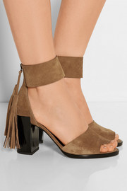 Fringed suede sandals