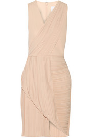 Wrap-effect plissé-crepe dress