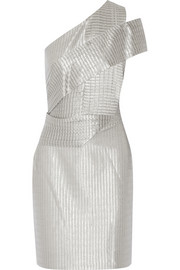 One-shoulder metallic knitted dress