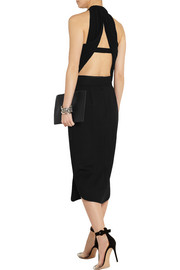 Dion Lee Cutout crepe and plissé-georgette top