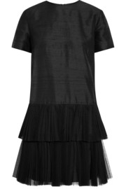 House of Holland Phyllie tulle-trimmed silk-shantung mini dress