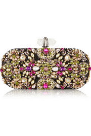 Lily Swarovski crystal-embellished mesh box clutch