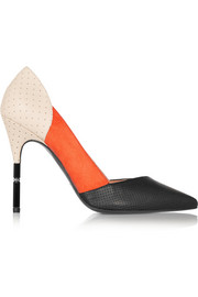 Romy suede and perforated leather pumps