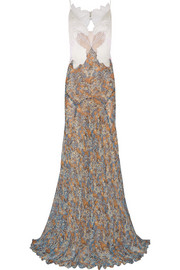 Stella McCartney Green Carpet Challenge: organza, guipure lace and printed silk-georgette gown