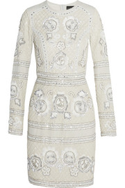 Embellished georgette mini dress