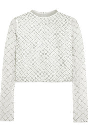 Grid bead-embellished chiffon top