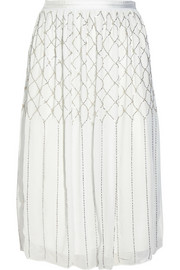 Grid bead-embellished chiffon skirt