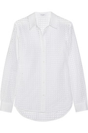 Equipment Brett broderie anglaise cotton shirt