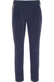 Hadley washed-silk tapered pants