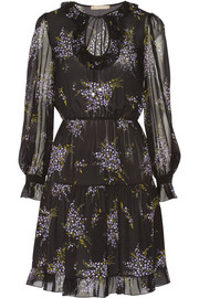 Michael Kors Ruffled floral-print silk-georgette dress