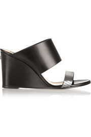 Metallic-trimmed leather wedge sandals