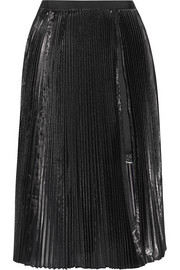 Sacai Luck pleated lamé and cotton-poplin skirt
