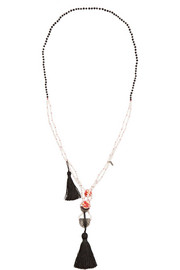 Tasseled freshwater pearl and onyx necklace