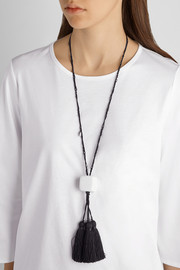 Tasseled waxed-cotton and marble necklace