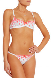 Alleta neon broderie anglaise poplin and stretch-tulle briefs
