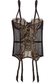 L'Agent by Agent Provocateur Iana metallic lace and tulle basque