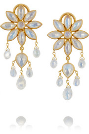 22-karat gold moonstone earrings