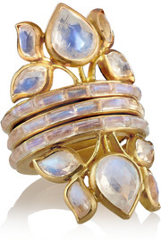 MUNNU Set of three 22-karat gold moonstone rings