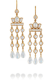 MUNNU 22-karat gold moonstone earrings