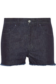 Low Slung frayed denim shorts