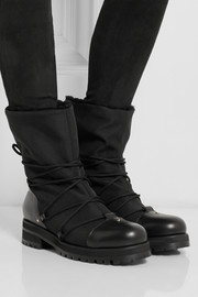 Jimmy Choo Shearling-lined piqué-shell boots