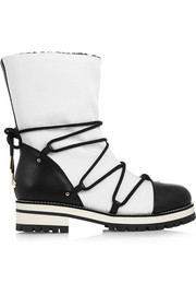 Jimmy Choo Shearling-lined leather and piqué-shell boots