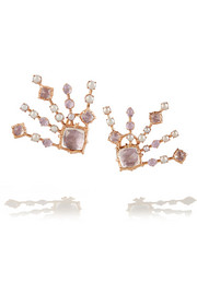 Large Bella Starburst Spray rose gold, quartz and pearl earrings