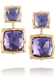 Larkspur & Hawk Large Bella 14-karat gold amethyst double-drop earrings