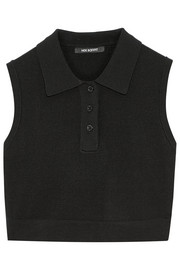 Tech-mesh cropped polo shirt