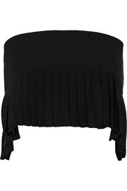 Cropped pleated stretch-knit top