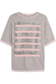 Steve J & Yoni P Layered mesh and printed cotton-jersey T-shirt