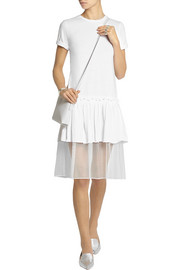 Steve J & Yoni P Tulle-trimmed cotton-jersey dress