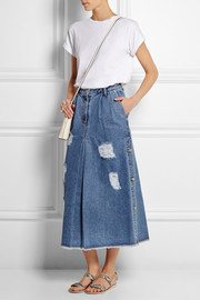 Steve J & Yoni P Distressed denim midi skirt