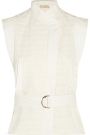 Cast belted textured cotton-blend vest