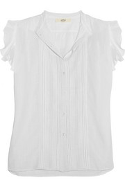 Claudia ruffled cotton-gauze top