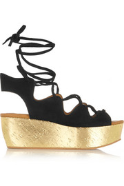 Liane metallic cork and suede wedge sandals