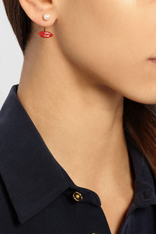 Delfina Delettrez Ohrring aus 9Karat Gold mit Perle und emailliertem Detail