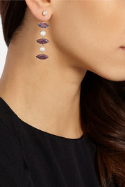 Delfina Delettrez 18-karat gold, ruby and pearl earring