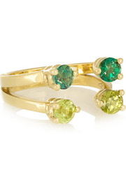 9-karat gold, peridot and topaz phalanx ring