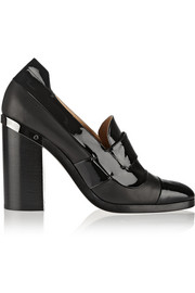 Metal-trimmed patent-leather pumps