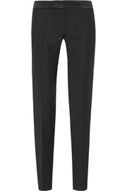 Aurore satin-trimmed crepe straight-leg pants