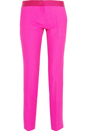 Aurore satin-trimmed wool-crepe slim-fit pants