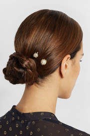 Rosantica Set of two gold-dipped pearl hair pins