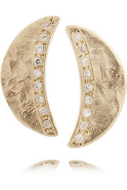 Moon 10-karat gold diamond earrings