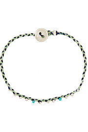 Woven turquoise and glass bead bracelet