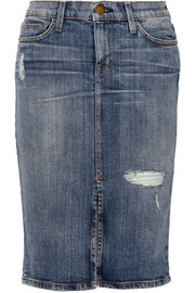 The High Waist distressed stretch-denim pencil skirt