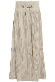 Pleated linen maxi skirt