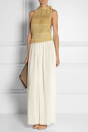 Knitted silk and gauze maxi dress